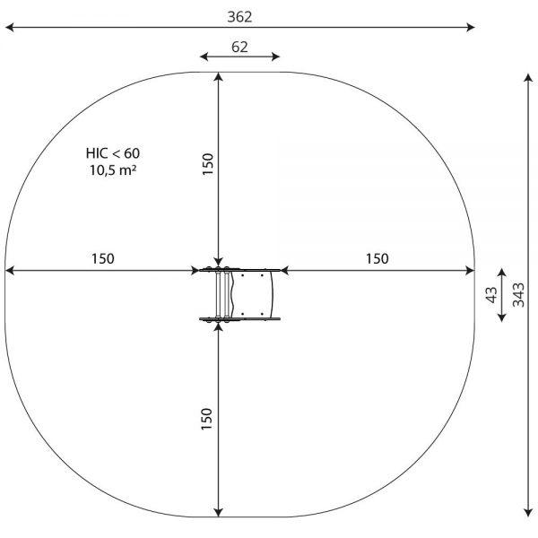 Kuva Jousikeinu Etana V 0615-1 jousikeinun turva-alueesta
