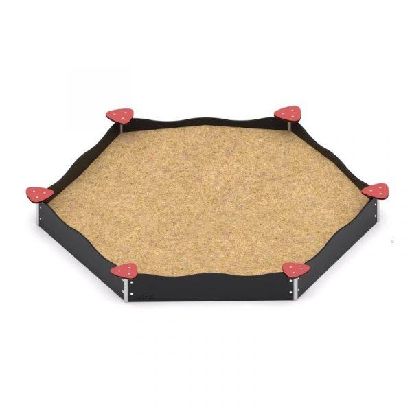 Kuva tuotteesta Kuusikulmainen hiekkalaatikko hiekkapöydillä V 0802-1, Mustat laidat ja punaiset hiekkapöydät