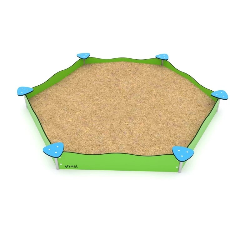 Kuva tuotteesta Kuusikulmainen hiekkalaatikko hiekkapöydillä V 0802-1, Vihreät laidat ja siniset hiekkapöydät