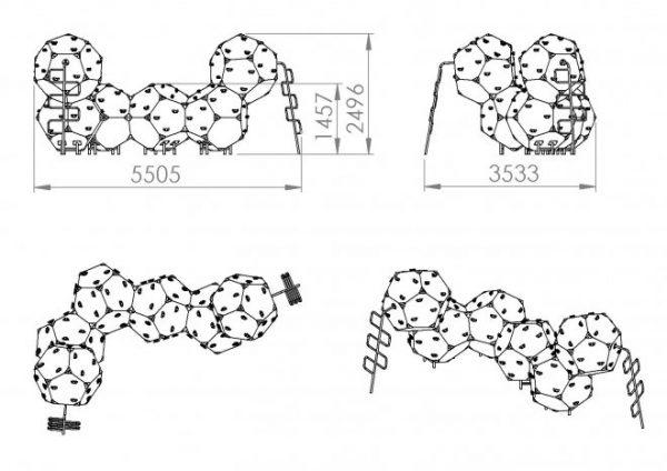 Kuva tuotteen Kiipeilykuutiot 6 CCK-006 mitoista