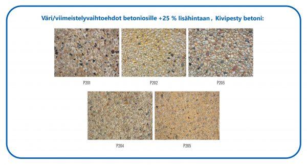 Värivaihtoehdot betoniosille +25 % lisähintaan, Kivipesty betoni