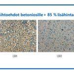 Värivaihtoehdot betoniosille +85 % lisähintaan, Hiottu betoni