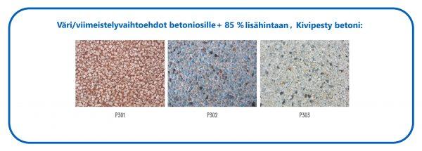 Värivaihtoehdot betoniosille +85 % lisähintaan, Kivipesty betoni