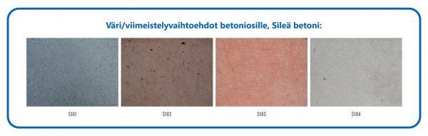 Värivaihtoehdot betoniosille, Sileä betoni