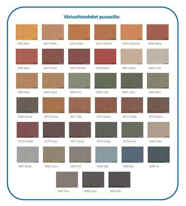 Värivaihtoehdot puuosille