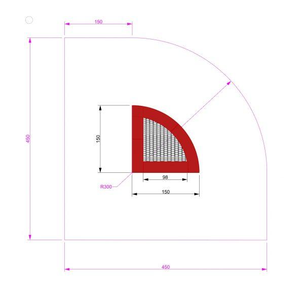 Kuva tuotteen Kulma Trampoliini 1,5 x 1,5 m MP-TZMPPSG-1-4 300 turva-alueesta