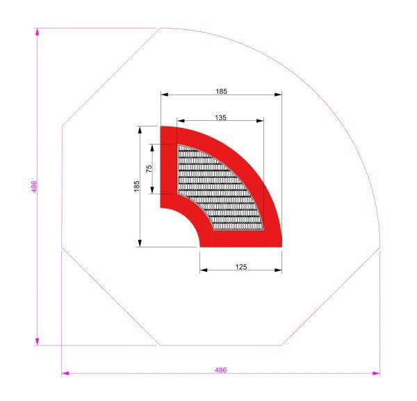 Kuva tuotteen Neljäsosaympyrä Trampoliini 1,85 x 1,85 m MP-TZMPPSG-1-4 370 turva-alueesta