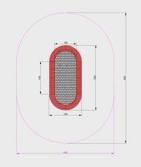 Kuva tuotteen Ovaali Trampoliini 1,5 x 3 m MP-TZMPP-BO turva-alueesta