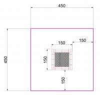 Kuva tuotteen Suorakulmainen Trampoliini 1,5 x 1,5 m MP-TZMPP-150 turva-alueesta